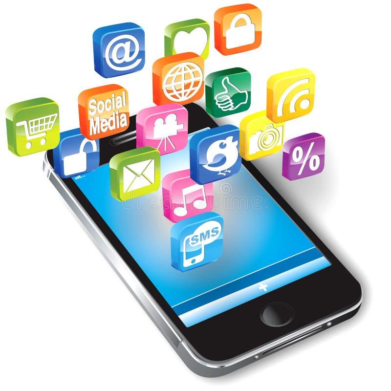 Smartphone Avec Des Icônes Image stock