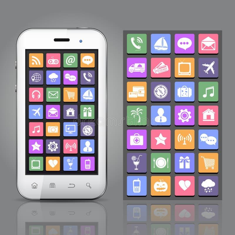 Smartphone avec des icônes de $$etAPP illustration libre de droits