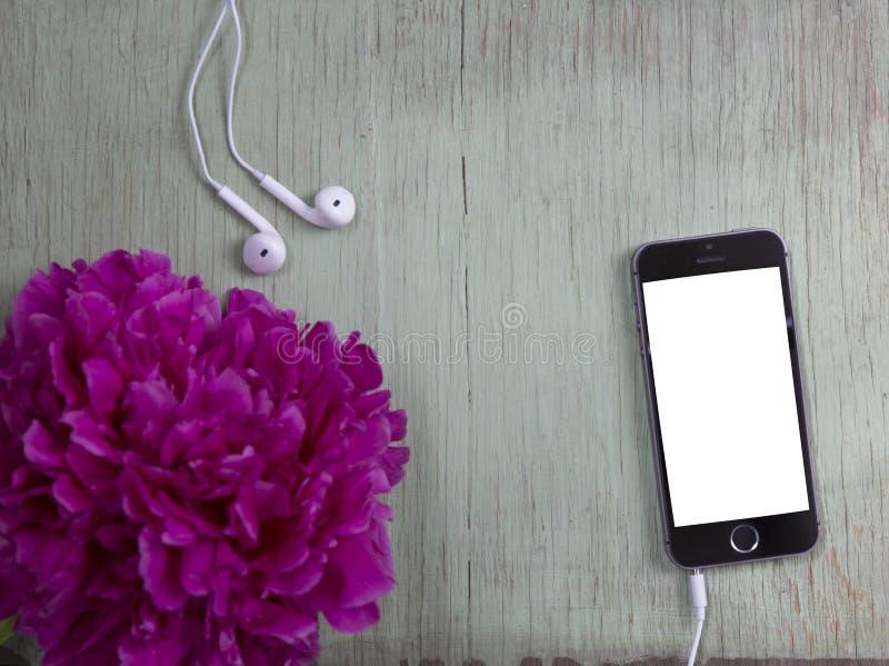 Smartphone avec l'écran blanc et la pivoine rose sur le fond en bois images libres de droits
