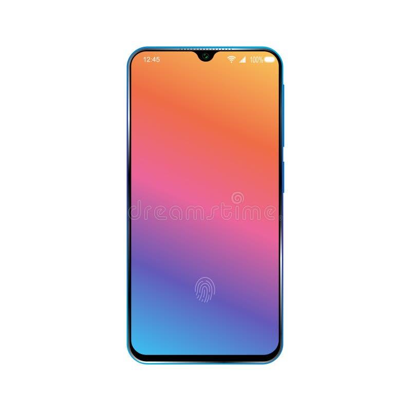 Smartphone avec l'écran verrouillé coloré Conception de téléphone portable moderne D'isolement sur le fond blanc Vecteur illustration stock