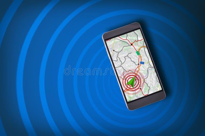 Smartphone avec l'assistant de navigation et le fond et le wav bleus photographie stock libre de droits