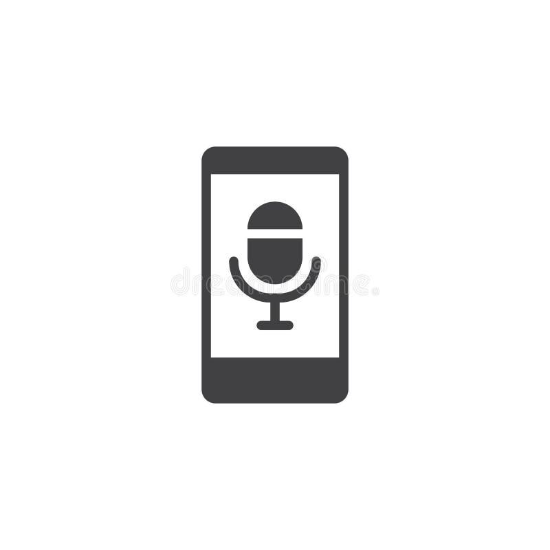 Smartphone avec l'icône de vecteur de microphone illustration libre de droits