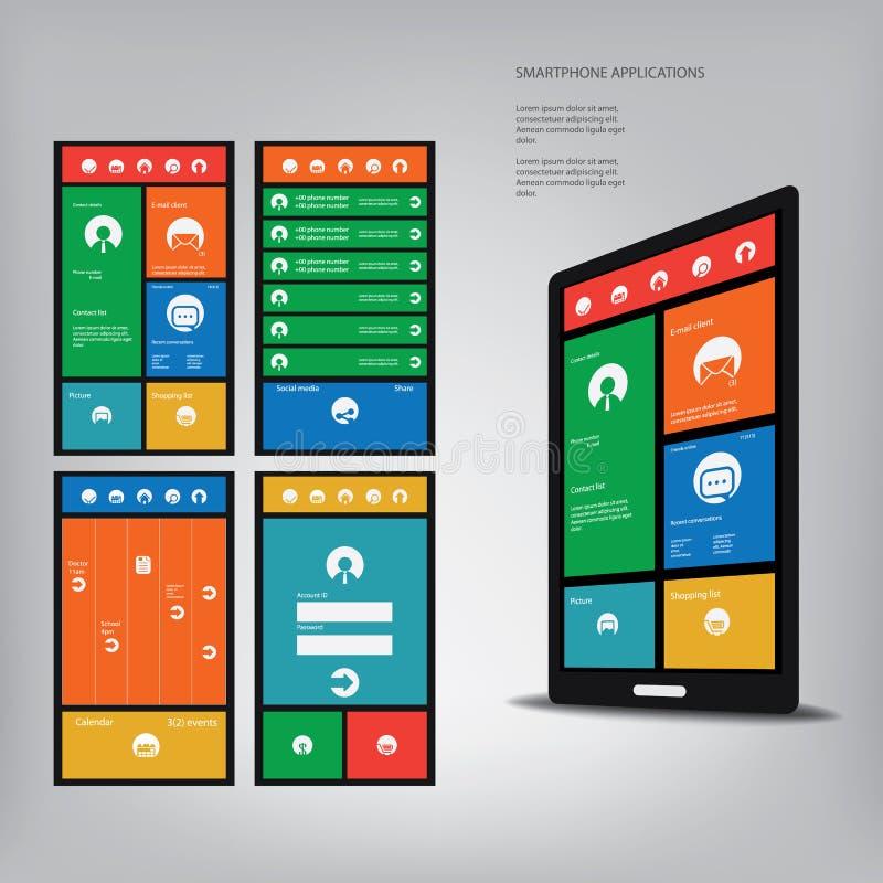 Smartphone avec l'interface utilisateurs graphique de style de métro illustration de vecteur
