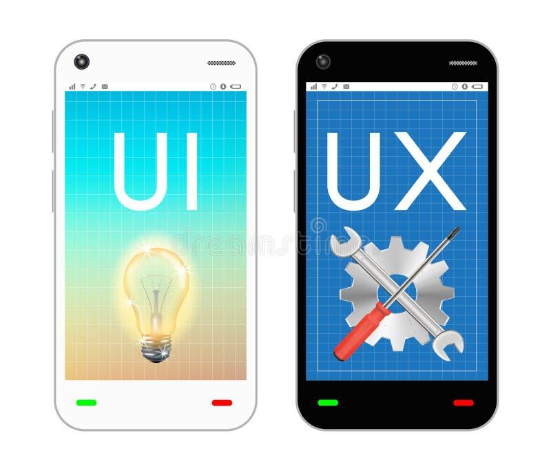 Smartphone avec l'ui et l'ux conçoivent sur l'écran illustration stock