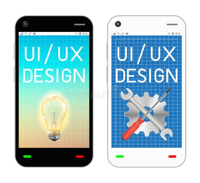 Smartphone avec l'ui et l'ux conçoivent sur l'écran illustration libre de droits