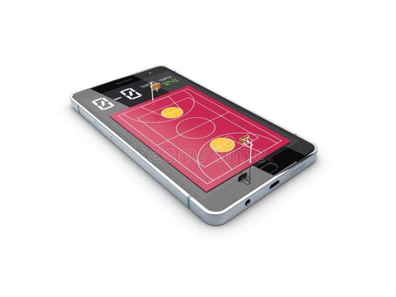 Smartphone avec la boule et le champ de basket-ball sur l'écran Thème et applications de sports illustration 3D illustration libre de droits