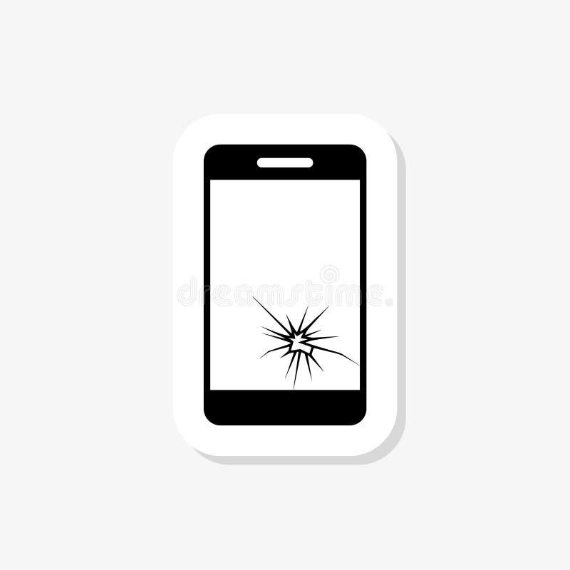 Smartphone avec la fente au téléphone portable moderne cassé d'affichage s'est brisé illustration de vecteur