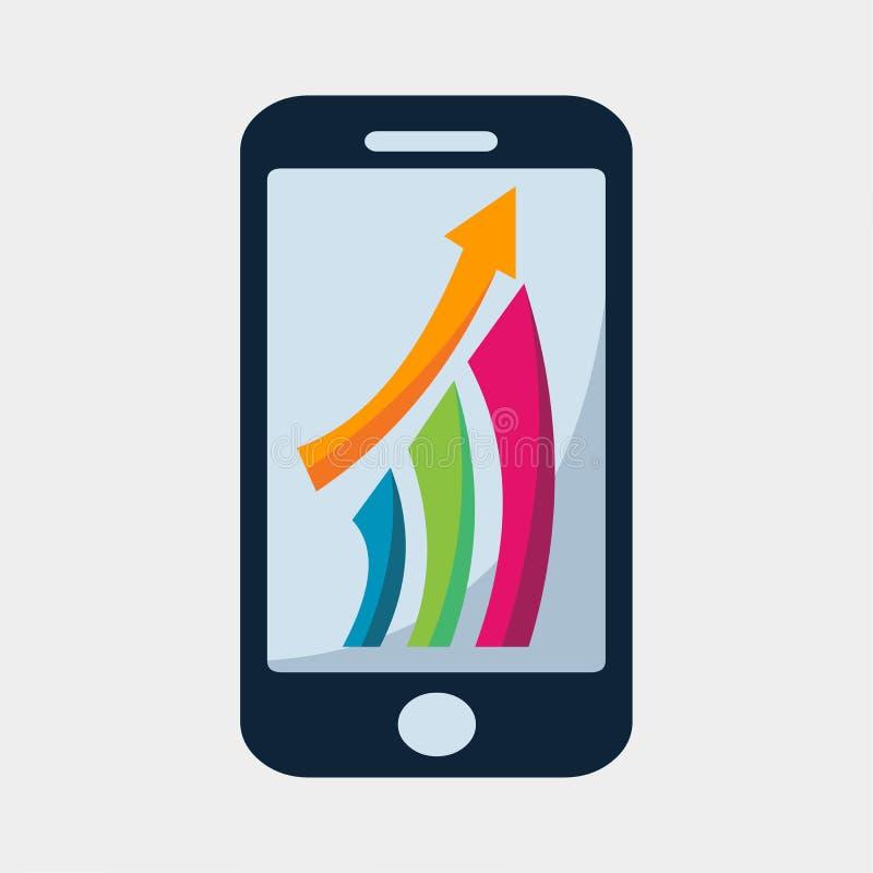 Smartphone avec la flèche et le graphique de gestion coloré de barres représente graphiquement l'illustration de vecteur illustration libre de droits