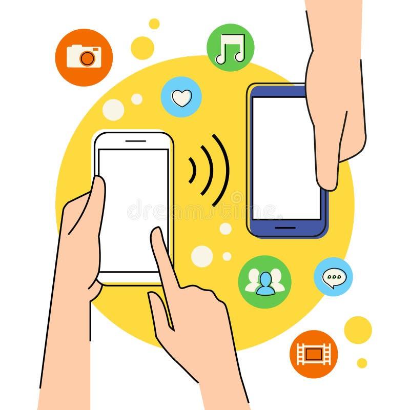 Smartphone avec la fonction de nfc illustration libre de droits