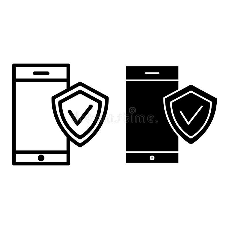 Smartphone avec la ligne de bouclier et l'icône de glyph Protection sur l'illustration de vecteur de smartphone d'isolement sur l illustration de vecteur