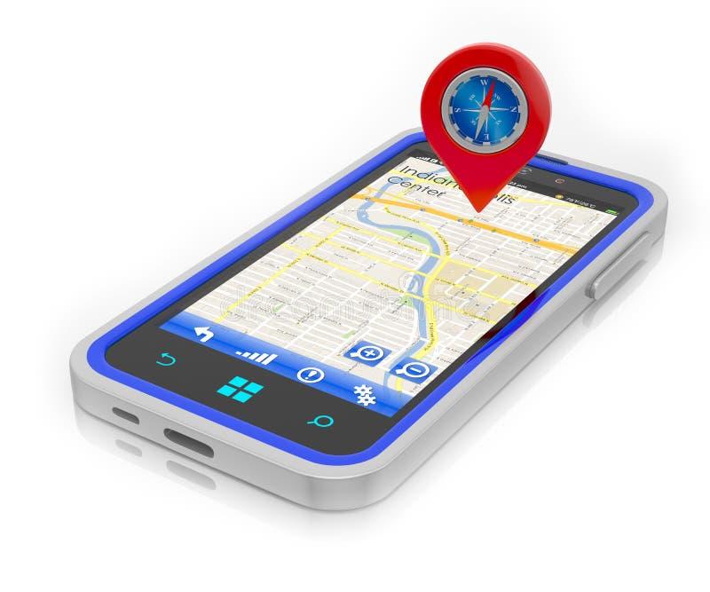 Smartphone avec la navigation de GPS illustration stock