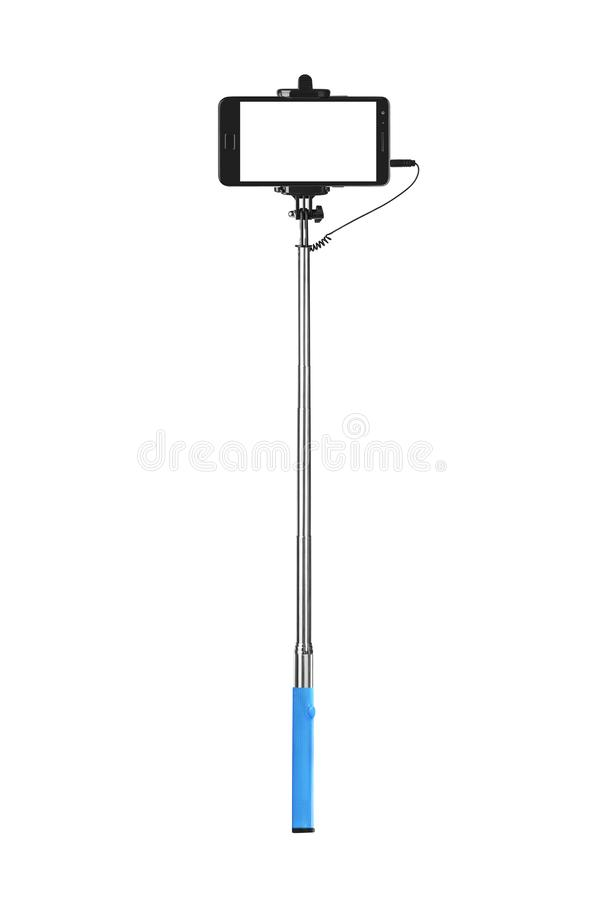 Smartphone avec le bâton de selfie images stock