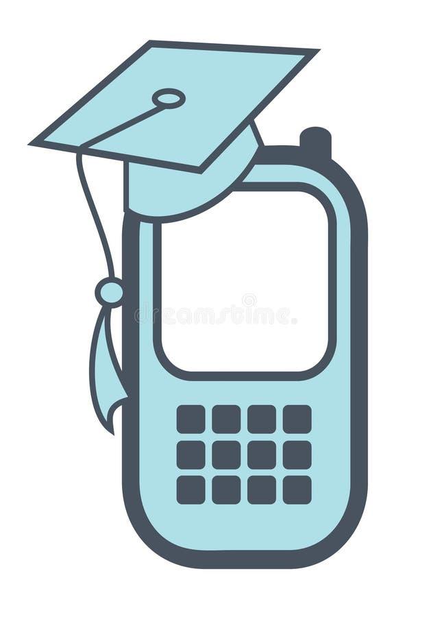 Smartphone avec le capuchon de diplômé illustration de vecteur