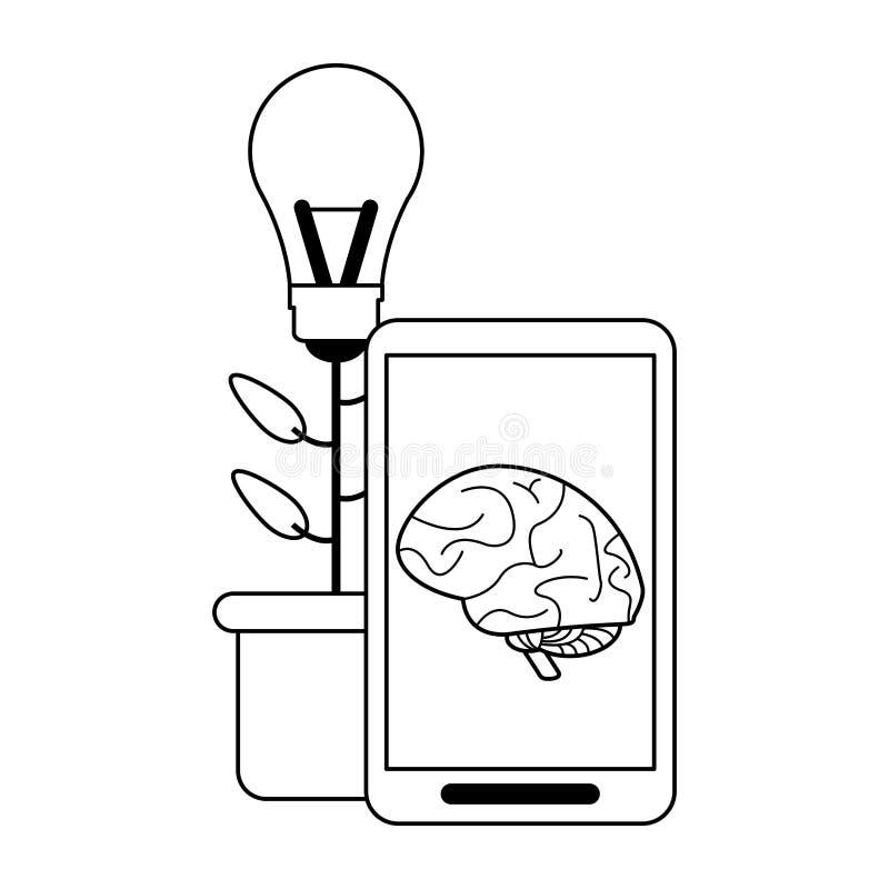 Smartphone avec le cerveau sur le grand pot d'idée d'écran et de fleur noir et blanc illustration libre de droits