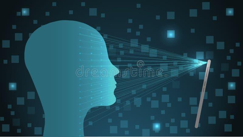 Smartphone avec le concept facial de reconnaissance, ouvrent une session ou s'inscrivent Écran de Smartphone avec le scanner faci illustration stock
