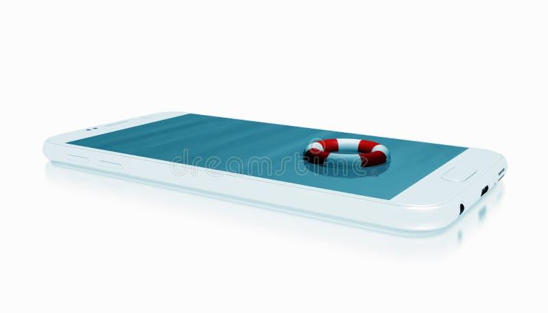 Smartphone avec le conservateur de vie illustration de vecteur
