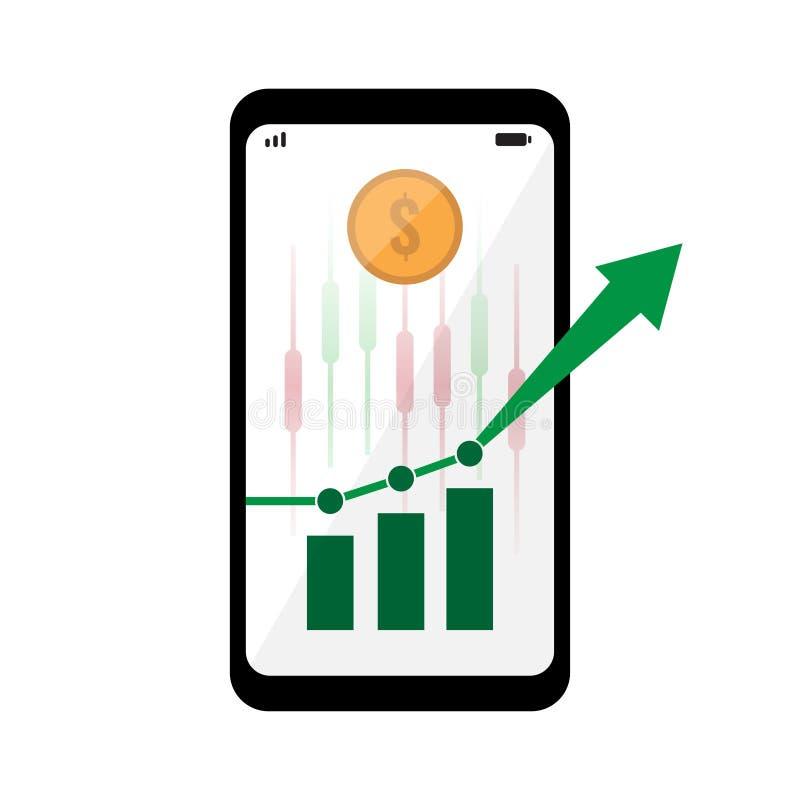 Smartphone avec le diagramme de vert de marché boursier sur l'écran photographie stock