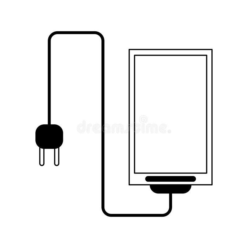 Smartphone avec le fil et brancher noir et blanc illustration stock