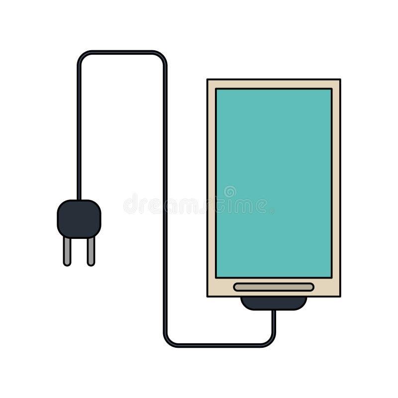 Smartphone avec le fil et la prise illustration libre de droits