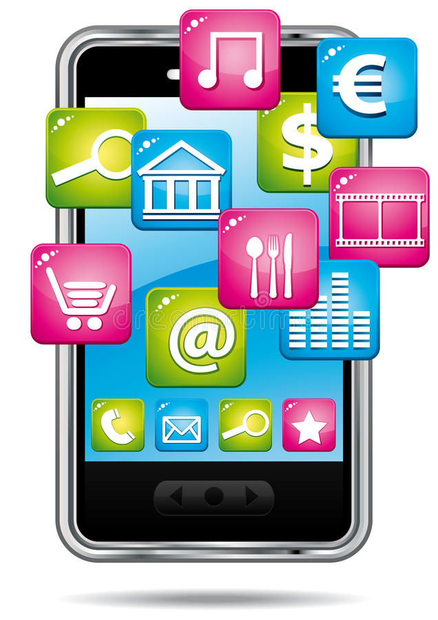 Smartphone avec le nuage des applications. illustration de vecteur