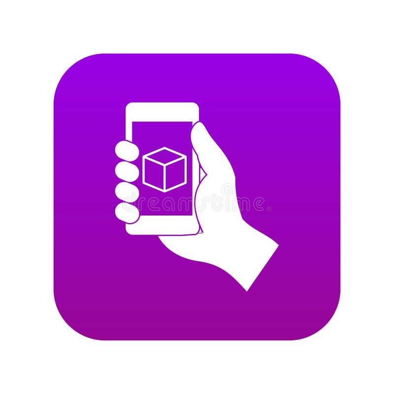 Smartphone avec le pourpre numérique d'icône du modèle 3D illustration libre de droits