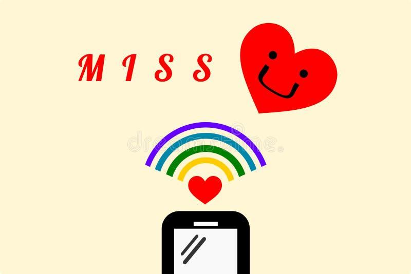 Smartphone avec le signal de wifi Il y a bande dessinée de coeur de ` et de sourire de Mlle de ` de mot dans la conception plate  illustration libre de droits