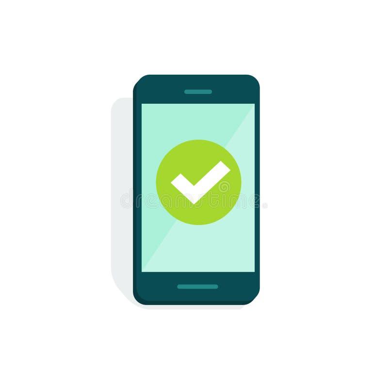 Smartphone avec le trait de repère sur l'illustration de vecteur d'affichage, bande dessinée plate de téléphone portable avec le  illustration de vecteur