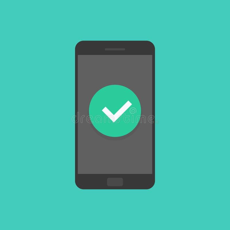 Smartphone avec le trait de repère, téléphone portable a approuvé l'avis de coutil, idée de coche réussi de mise à jour, admise illustration de vecteur