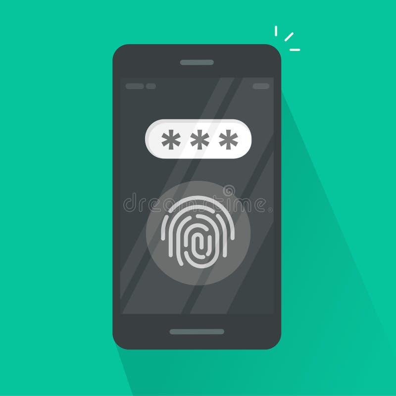 Smartphone avec le vecteur de bouton d'empreinte digitale et de champ de mot de passe, concept de sécurité, login, technologie de illustration libre de droits