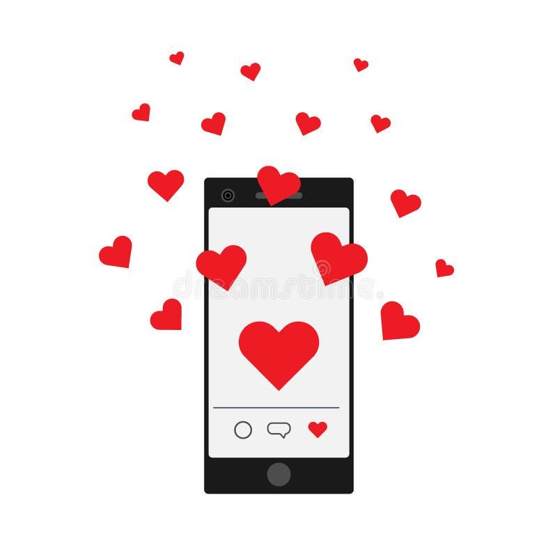 Smartphone avec le vol de coeurs Réception du message d'amour au téléphone illustration de vecteur