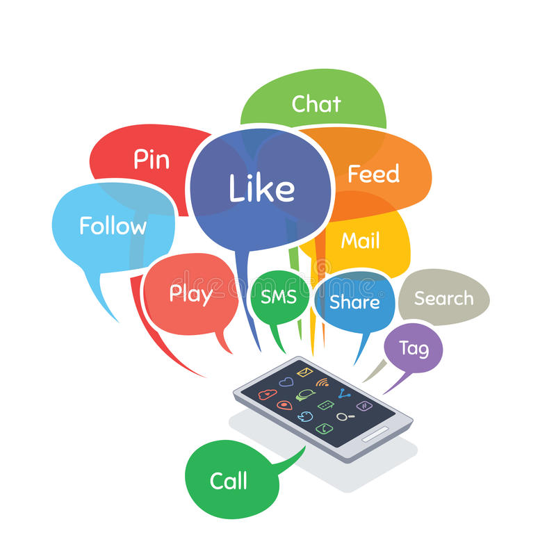 Smartphone avec les bulles sociales de concept de media (comme, suivez, goupillez, partagez, causez, l'alimentation) illustration de vecteur