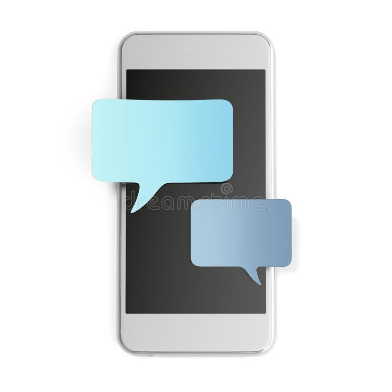 Smartphone avec les bulles vides de la parole pour le texte illustration stock