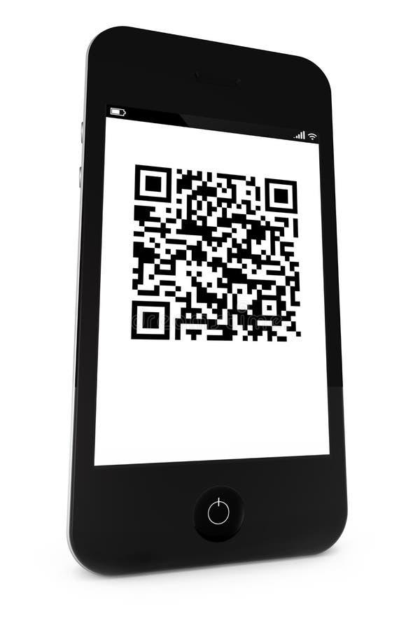 Smartphone avec un code à barres de QR illustration libre de droits