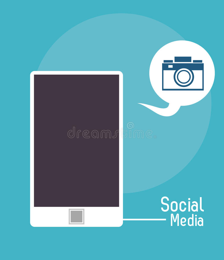 Smartphone bąbla fotografii kamery socjalny środki royalty ilustracja