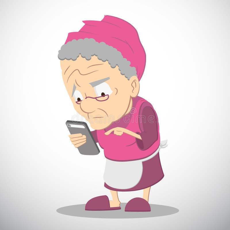 Smartphone babcia ilustracja wektor