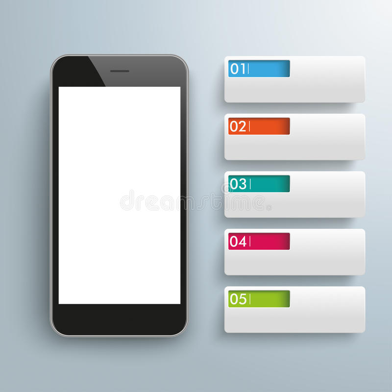 Smartphone 5 Banner Tabs. Infographic with smartphone and banners on the gray background vector illustration