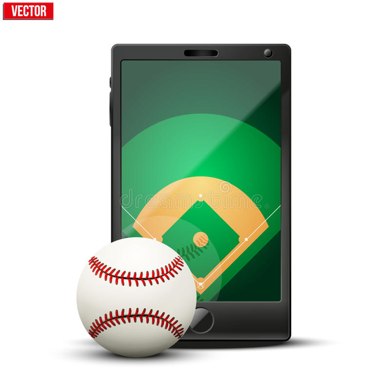 Smartphone with baseball ball and field on the stock illustration