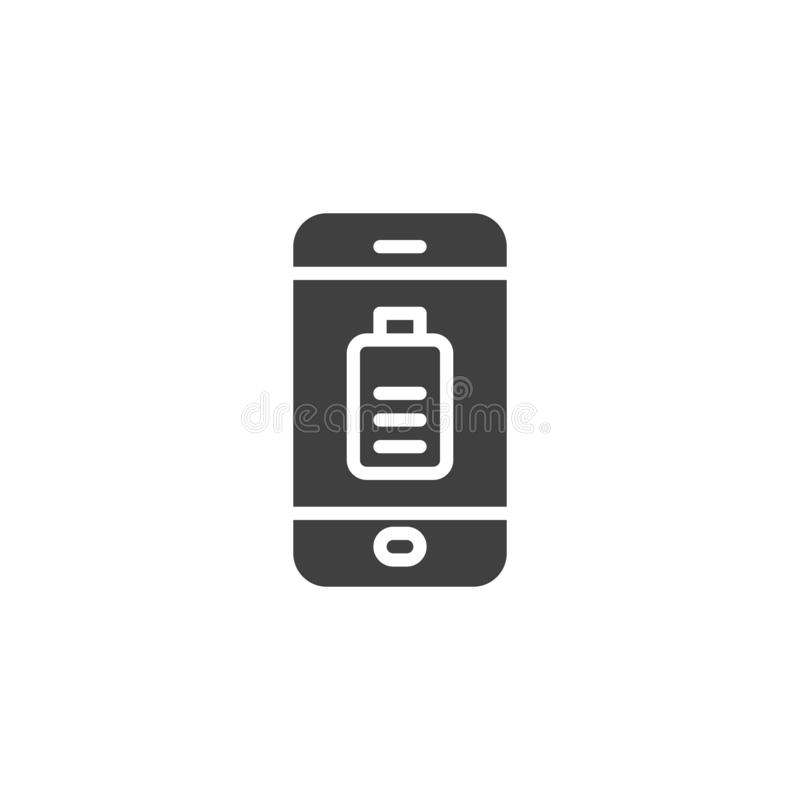 Smartphone battery charging vector icon. Filled flat sign for mobile concept and web design. Mobile phone battery charge glyph icon. Symbol, logo illustration vector illustration