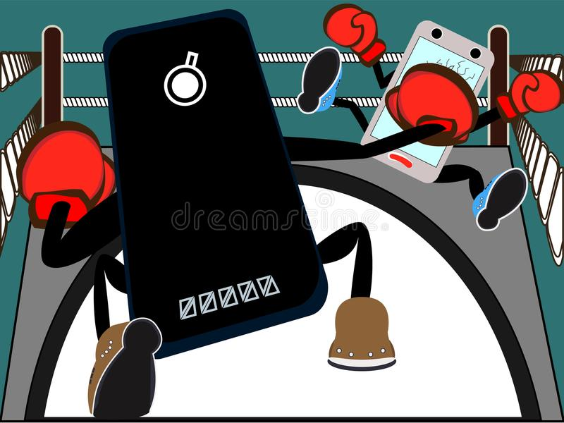 Smartphone battle. Boxing fight of mobile phone platforms as market competition on placard royalty free illustration