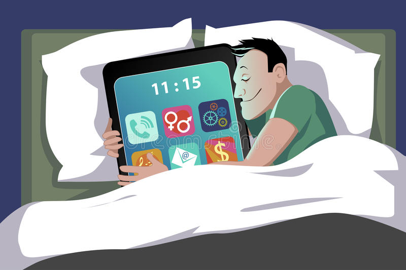 Smartphone in bed stock illustration