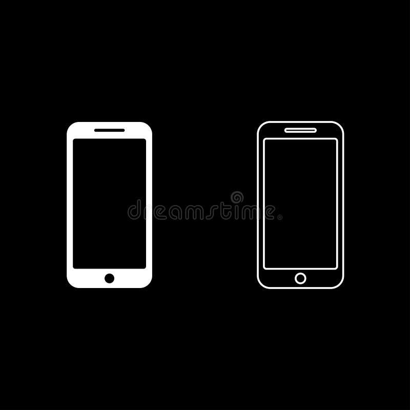 Smartphone-beeld van de de illustratie vlakke stijl van de pictogram het vastgestelde witte kleur vector royalty-vrije illustratie