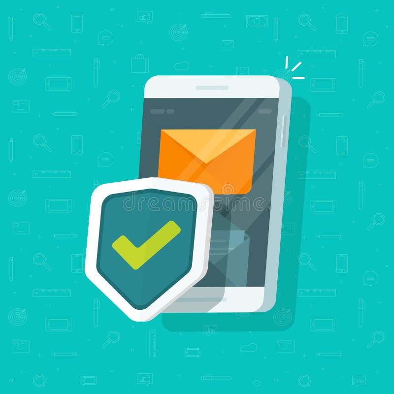 Smartphone-beschermt de beschermings vectorillustratie, vlak beeldverhaal van mobiele telefoon met veiligheidsschild, cellphone c royalty-vrije illustratie