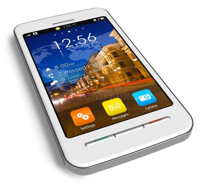 Smartphone bianco alla moda dello schermo attivabile al tatto illustrazione vettoriale