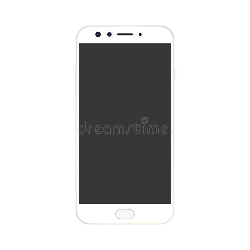Smartphone bianco con il bottone del menu e della macchina fotografica e lo schermo vuoto grigio con un abbagliamento vettore bia royalty illustrazione gratis
