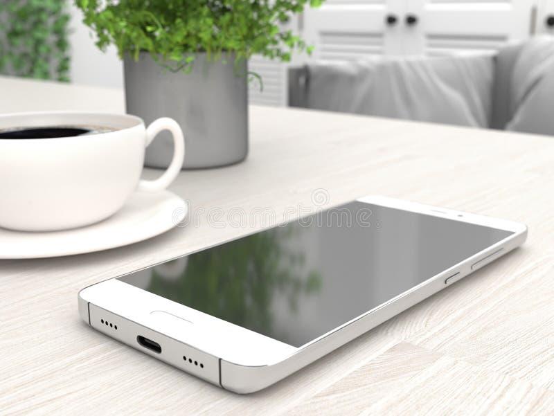 Smartphone bianco con schermo nero Un cellulare giace sul tavolo della cucina accanto a una tazza di caffè rendering 3D illustrazione di stock