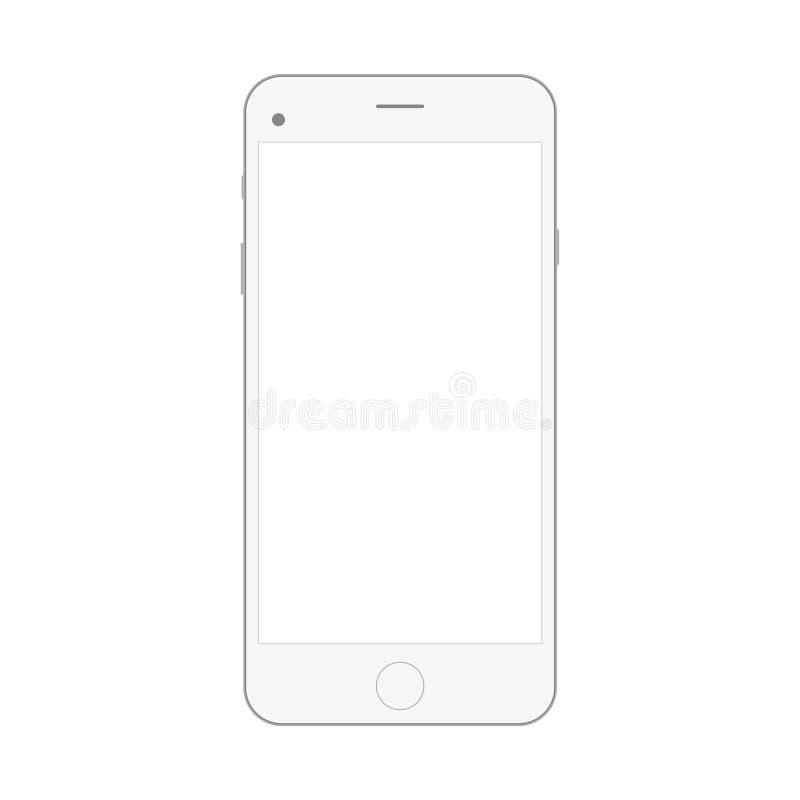 Smartphone bianco realistico isolato su fondo bianco Illustrazione realistica del iphon di vettore di Smartphone Modello del tele fotografia stock