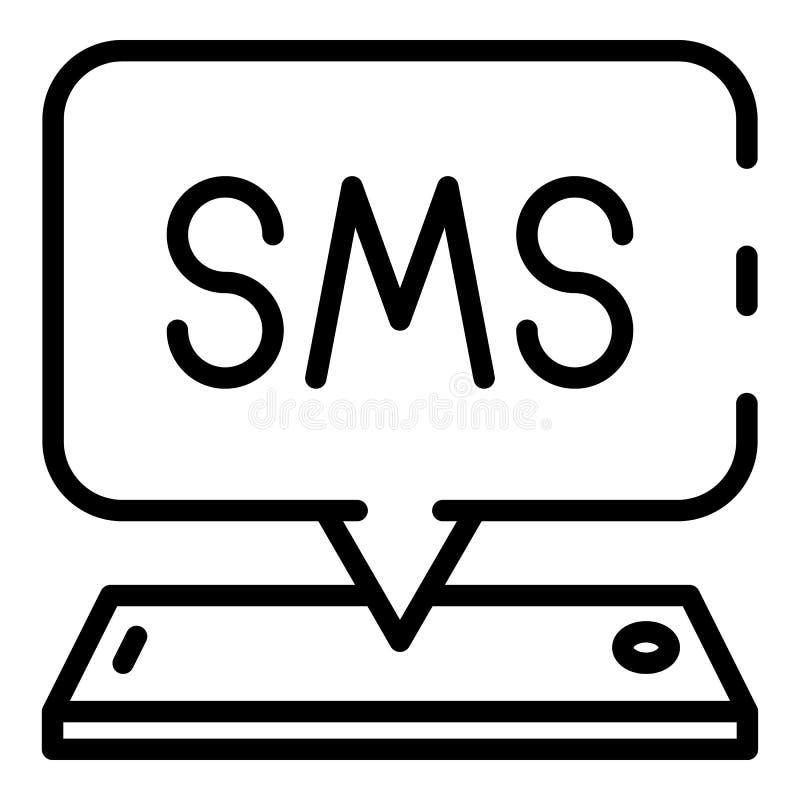 Smartphone-binnenkomend berichtpictogram, overzichtsstijl royalty-vrije illustratie