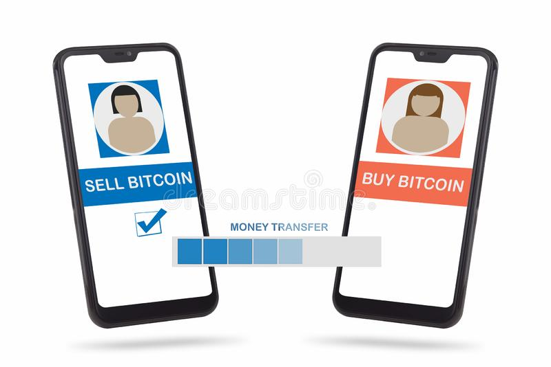 Smartphone with bitcoin transfer on white background royalty free illustration