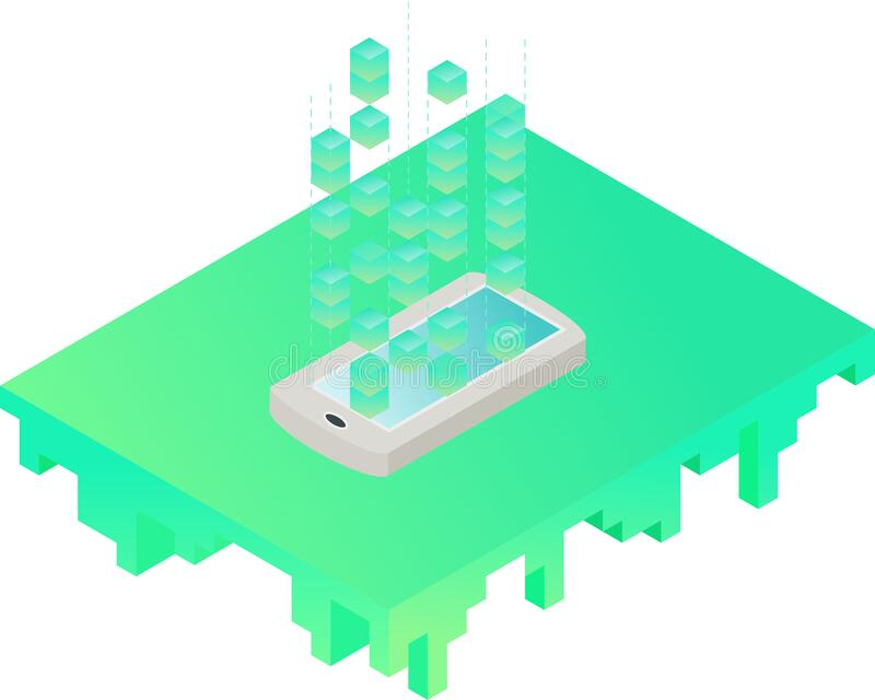 Smartphone-bits verzenden Isometrische kunst royalty-vrije illustratie