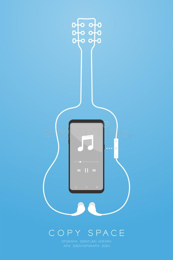Smartphone black color and Earphones wireless and remote, In Ear type flat design, acoustic guitar shape made from cable illustrat stock illustration